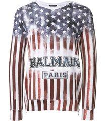 balmain american flag sweatshirt - red