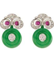 diamond sapphire jadeite 18k white gold earrings