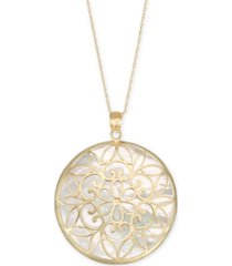 "mother-of-pearl filigree medallion 18"" pendant necklace in 14k gold"