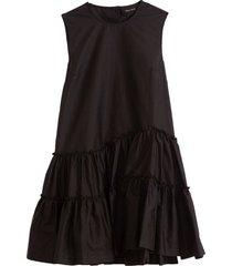 sleeveless short frill dress in black