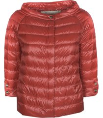 herno boat neck buttoned padded jacket