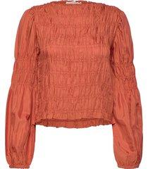 crhenva blouse blus långärmad orange cream