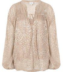 blouse met luipaardprint lorelie  beige