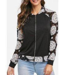 floral print raglan sleeve zippered coat