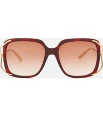 gucci women's oversized square frame acetate sunglasses - havana/gold/brown