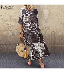 zanzea plus s-5xl de las mujeres medio de la manga largo de la vendimia camisa de vestir de lunares compruebe vestido a media pierna -café
