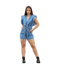 macaquinho jeans feminino macacão com botões encapado azul