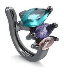 piercing de pressão francisca joias para orelha com pedras coloridas folheado em ródio negro