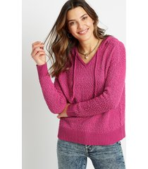 maurices womens solid hooded pullover sweater purple