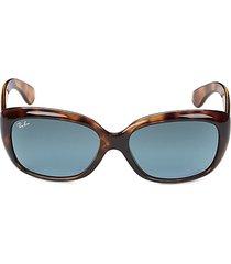 ray-ban women's rb4101 58mm rectangular sunglasses - blue havana