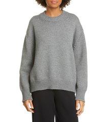 women's mansur gavriel wool crewneck sweater, size large - grey