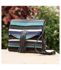 leather accent cotton shoulder bag, 'fantasy dance' (peru)
