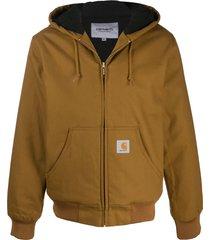 carhartt wip active zip-up hoodie - brown
