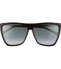 givenchy 60mm flat top sunglasses in black/dark grey grad at nordstrom