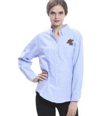 blusa bordado rosa azul nicopoly