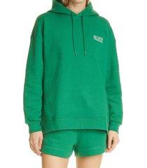 women's ganni women's software isoli organic cotton blend hoodie, size small/medium - green