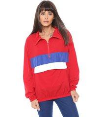 jaqueta corta vento coca-cola jeans color block vermelho