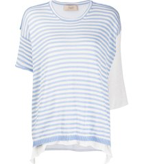 maison flaneur layered crocheted t-shirt - blue