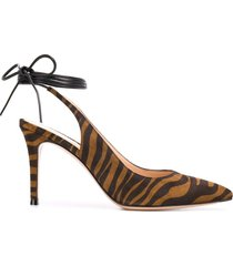 gianvito rossi tiger-print ankle-tie pumps - brown