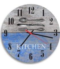 relã³gio de parede decorativo talheres kitchen ãšnico - multicolorido - dafiti