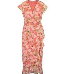 freebird gladiol-flower-pes-01 short sleeve midi dress rosy midi pink