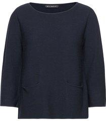 knitted pullover short 3/4 sle stickad tröja blå betty barclay