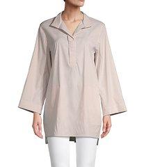 striped cotton-blend blouse