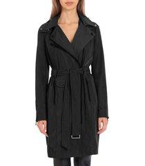 women's avec les filles water resistant moto detail trench coat, size xx-small - black