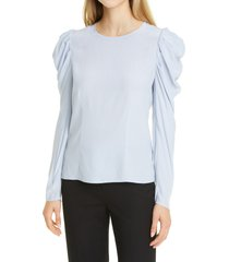 women's club monaco ruched long sleeve top, size x-small - blue
