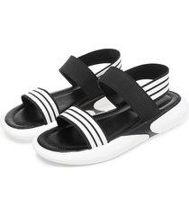 stripe elastic peep toe sandali