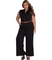 mono informal sin mangas con cuello redondo y cintura alta para mujer con cinturón negro