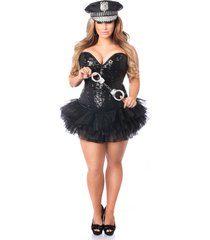 4 pc sexy cop sequin corset halloween costume - corset tutu hat handcuffs set