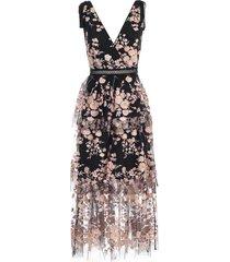 dress wide shoulder v neck embroidery tulle