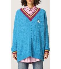 etro sweater etro v-neck pullover with pegaso logo