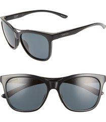 women's smith cavalier 55mm chromapop(tm) polarized cat eye sunglasses - black/ black