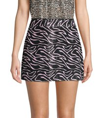 olivia rubin women's libby sequin zebra mini skirt - pink black zebra - size 0