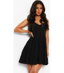 gekreukelde katoenen strand jurk met ceintuur en laagjes, black