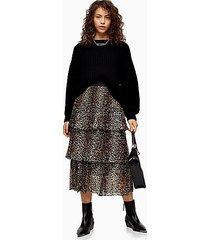 petite brown leopard print tiered pleated skirt - brown