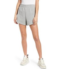 reformation brooks organic cotton sweat shorts, size x-small in heather grey at nordstrom