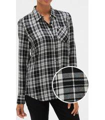 blusa drapey cuadrille negro gap