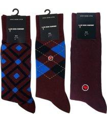 love sock company 3 pack men's burgundy organic cotton dress socks bundle