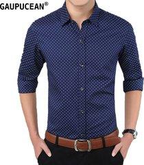 camisas formales manga larga algodón para hombre-azul