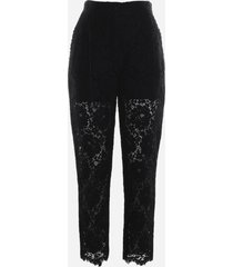 dolce & gabbana black high-waisted lace trousers