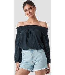 trendyol milla off shoulder blouse - blue