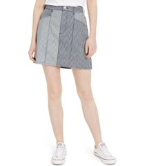 french connection zina cotton colorblocked striped denim skirt