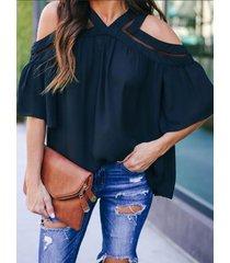 blusa de media manga con diseño de botones negros de hombro frío yoins