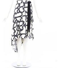 monse black cream rope print silk twill apron shorts black/cream sz: s
