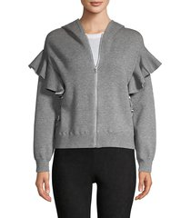 alice + olivia women's harris ruffle zip hoodie - black - size s