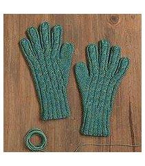100% alpaca gloves, 'winter delight in jade' (peru)