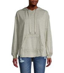 c & c california women's high-low cotton-blend hoodie - deep lichen - size s